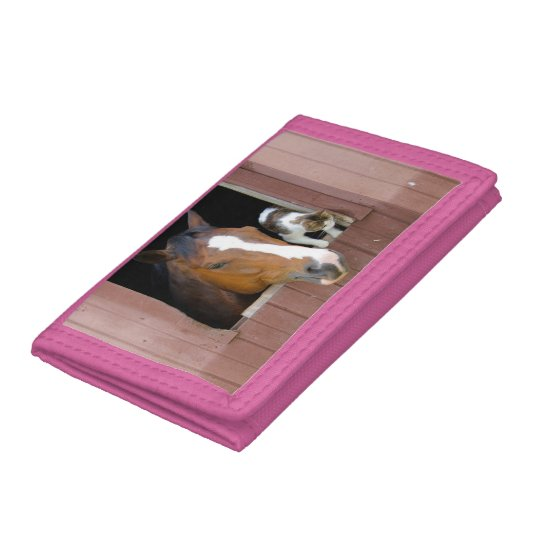 Cat and horse - horse ranch - horse lovers tri-fold wallet