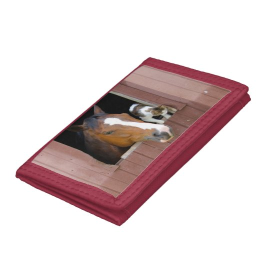 Cat and horse - horse ranch - horse lovers tri-fold wallets