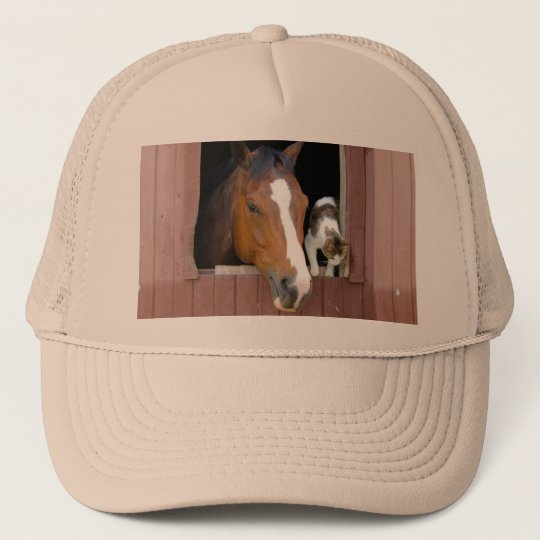 Cat and horse - horse ranch - horse lovers trucker hat