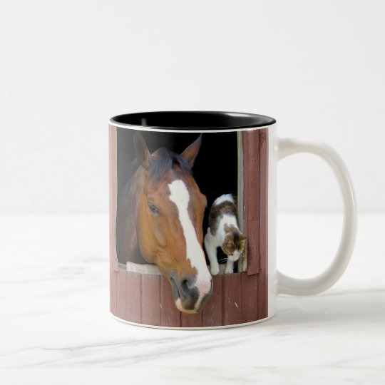 Cat and horse - horse ranch - horse lovers Two-Tone coffee mug