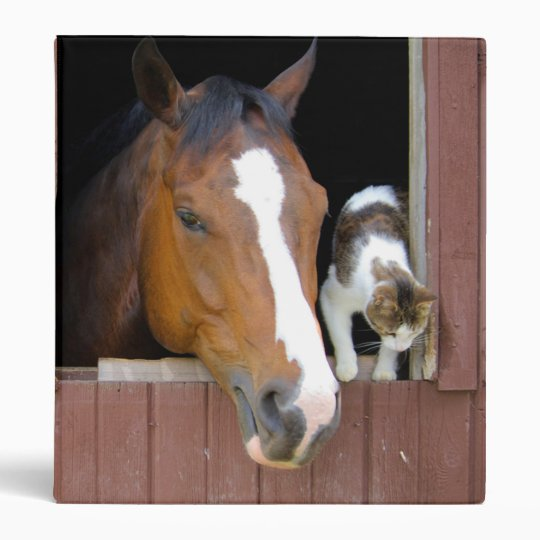 Cat and horse - horse ranch - horse lovers vinyl binders