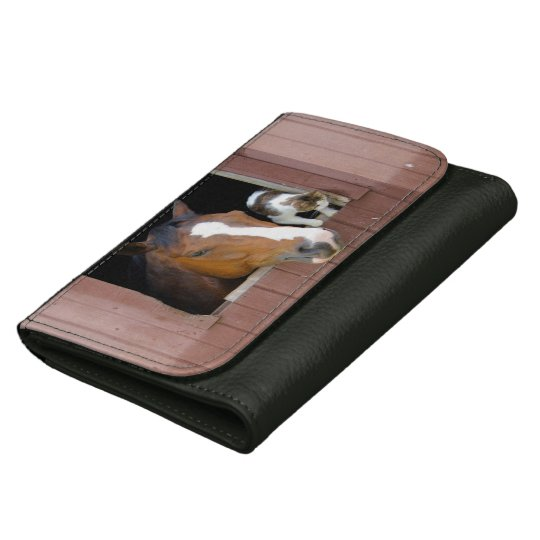 Cat and horse - horse ranch - horse lovers wallet for women