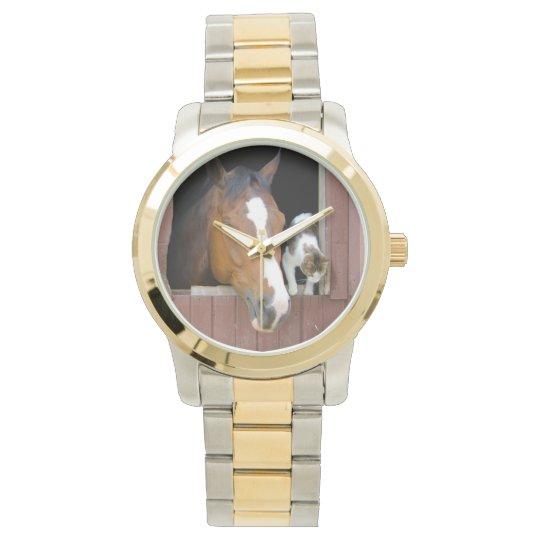 Cat and horse - horse ranch - horse lovers watches