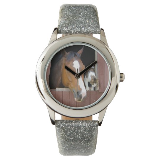 Cat and horse - horse ranch - horse lovers wrist watch