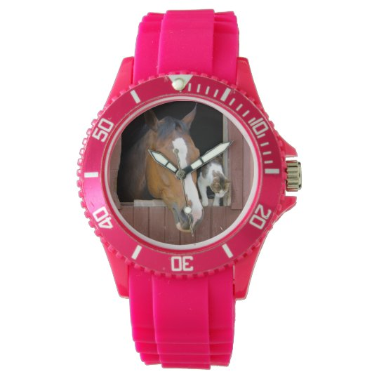 Cat and horse - horse ranch - horse lovers wrist watches