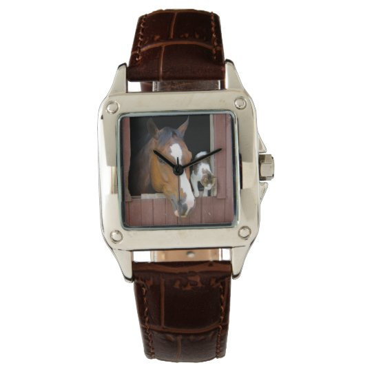 Cat and horse - horse ranch - horse lovers wristwatch