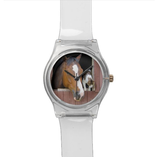 Cat and horse - horse ranch - horse lovers wristwatches