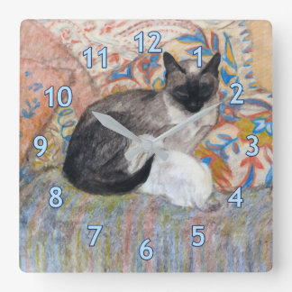 Cat and Kitten Sketch Square Wall Clock