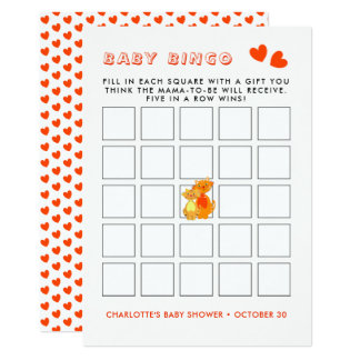 Cat and Kitten Super Cute Baby Bingo Game Card