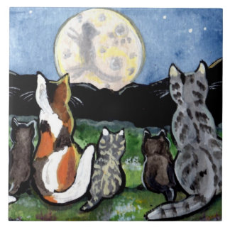 "Cat and Kittens Watching Moon 6"" Tile Trivet"