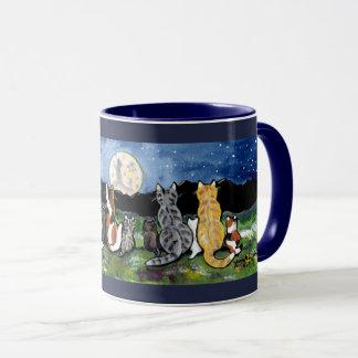 Cat and Kittens Watching Moon Design Dark Blue Mug