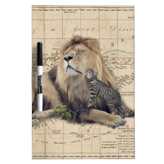cat and lion - africa map - felines dry erase board