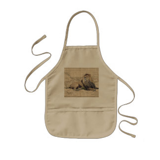 cat and lion - africa map - felines kids apron
