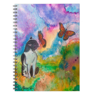 Cat and Monarchs 6.5 x 8.75 Notebook