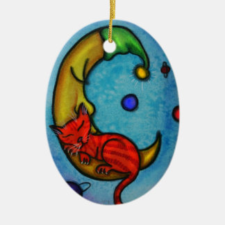 Cat and Moon Ornament
