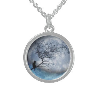 Cat and moon sterling silver necklace
