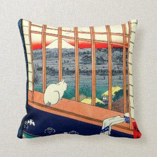 Cat and Mount Fuji 1857 Throw Pillow