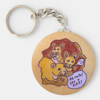 Cat and Mouse Basic Round Button Keychain