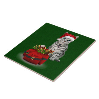 Cat and Mouse Christmas Tile