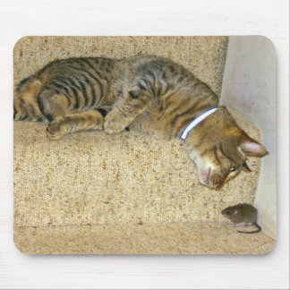 Cat and Mouse staring contest Mouse Pad