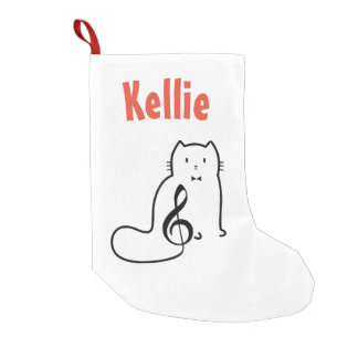 CAT AND MUSIC NOT SMALL CHRISTMAS STOCKING