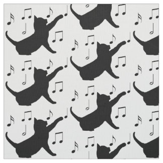 Cat and Musical Notes in Silhouette Fabric