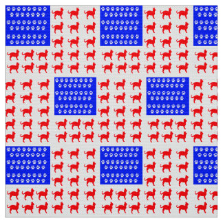 Cat and Paw Flag Fabric