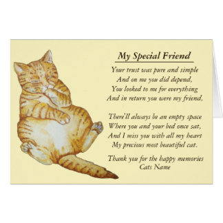 cat and pet sympathy original poem card