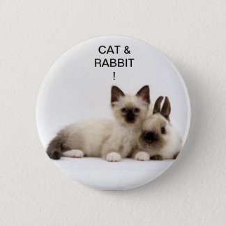 cat and rabbit/cat and Siamese rabbit! swipes in! 2 Inch Round Button