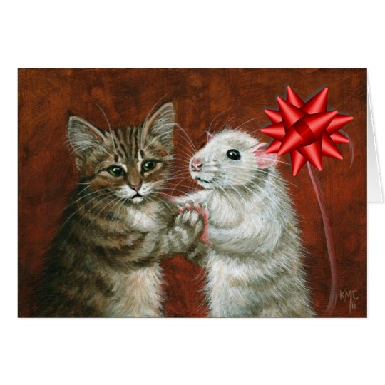 Cat and Rat Dancing Christmas Card