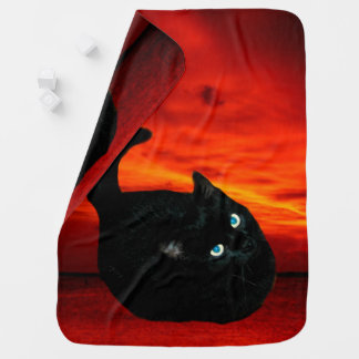 Cat and Red Sky Stroller Blanket