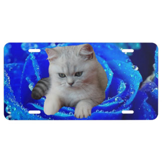 Cat and Rose License Plate