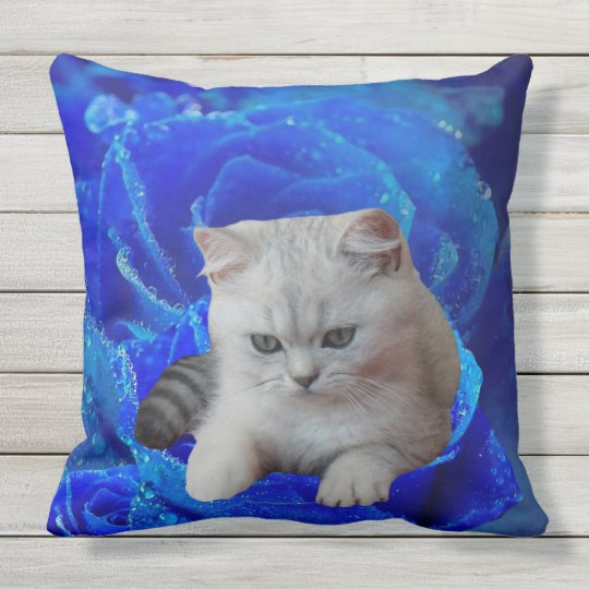 Cat and Rose Outdoor Pillow