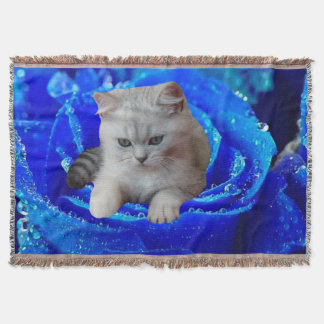 Cat and Rose Throw Blanket