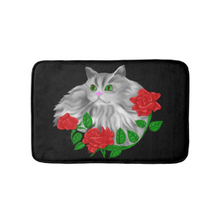 Cat and Roses Bathroom Mat
