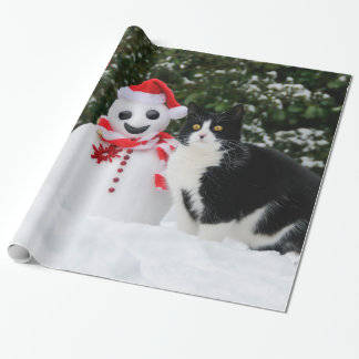 Cat and Santa Snowman Christmas, Gift Wrapping Paper
