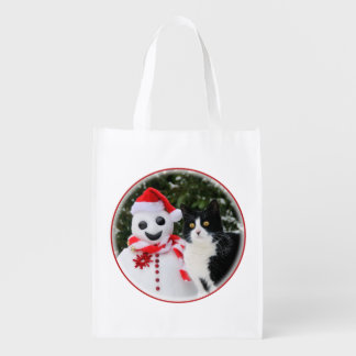 Cat and Santa Snowman Christmas Reusable Grocery Bag