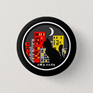 Cat and skyline of nocturnal city 1 inch round button