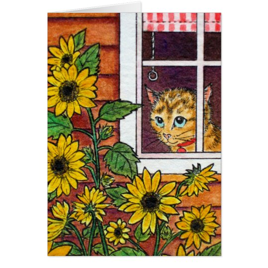cat and sunflower card