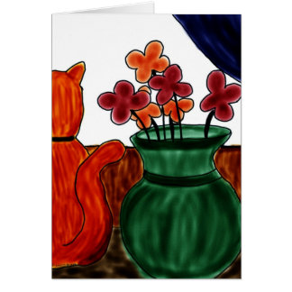 cat and vase flower card