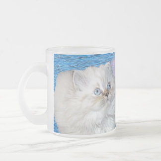 Cat and Water Frosted Glass Coffee Mug