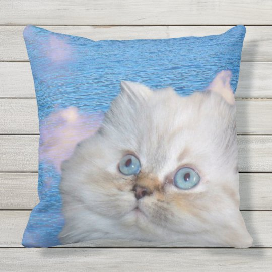 Cat and Water Throw Pillow
