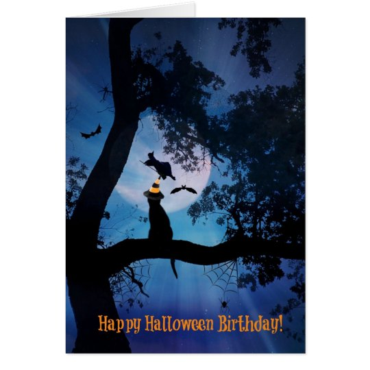 Cat and witch happy halloween birthday card zazzle cat and witch happy halloween birthday card bookmarktalkfo Images