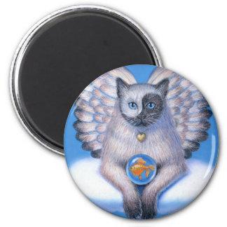 "Cat Angel ""Kitty Yin Yang"" Round Magnet"
