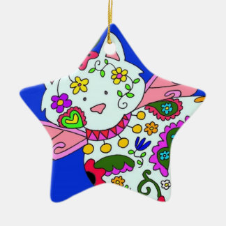 Cat Angel Ukrainian Folk Art Ceramic Star Ornament
