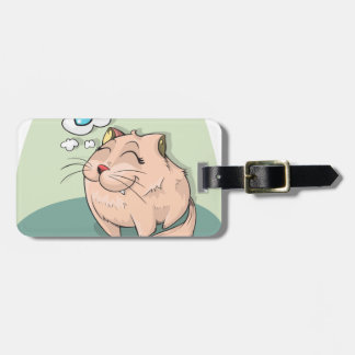 Cat animal fish thinking cute pet luggage tag