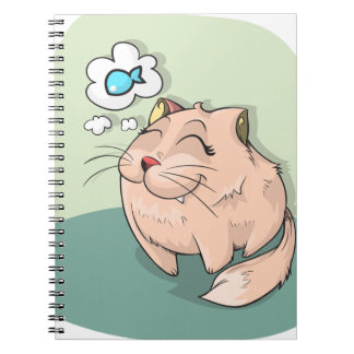 Cat animal fish thinking cute pet spiral notebook