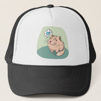 Cat animal fish thinking cute pet trucker hat