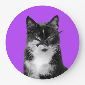 Cat animal pet puppy photo black and white wall clock