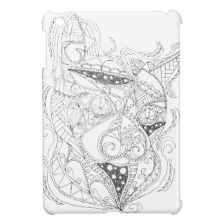 Cat Art Black and White Coloring Design Cover For The iPad Mini